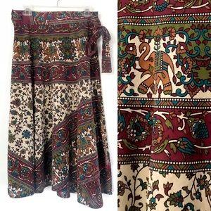 Vintage elephant print linen cotton wrap skirt